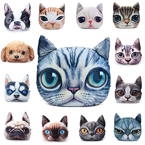 wiwanshop 2 Sizes Plush Creative 3D Dog Cat Throw Pillows Meow Star Sofa Bed Cushion ( Shar Pei ) by Freelance Shop Home and kitchen
