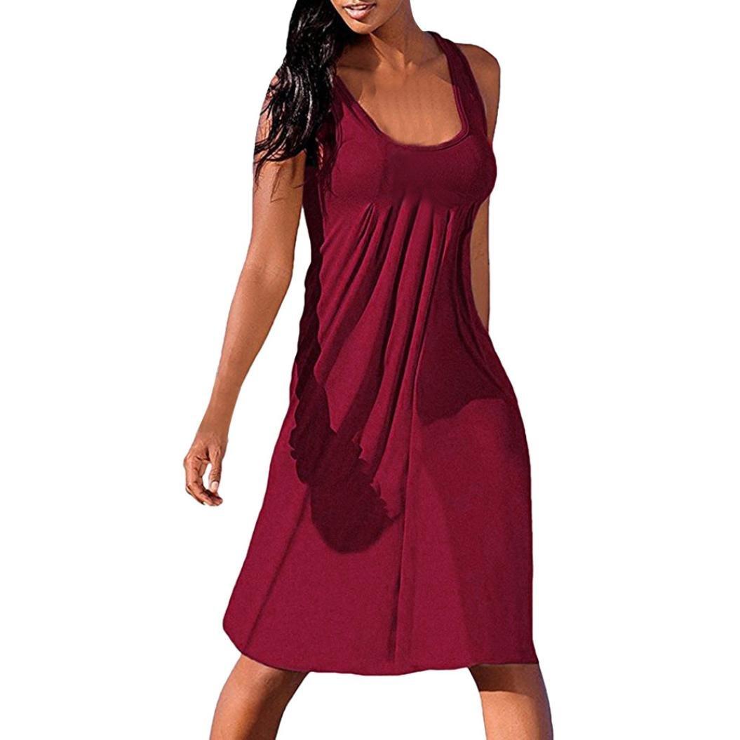 Vestidos Mujer Verano 2018,Mujer vacaciones verano sólido sin mangas fiesta playa vestido LMMVP (F, L): Amazon.es: Hogar
