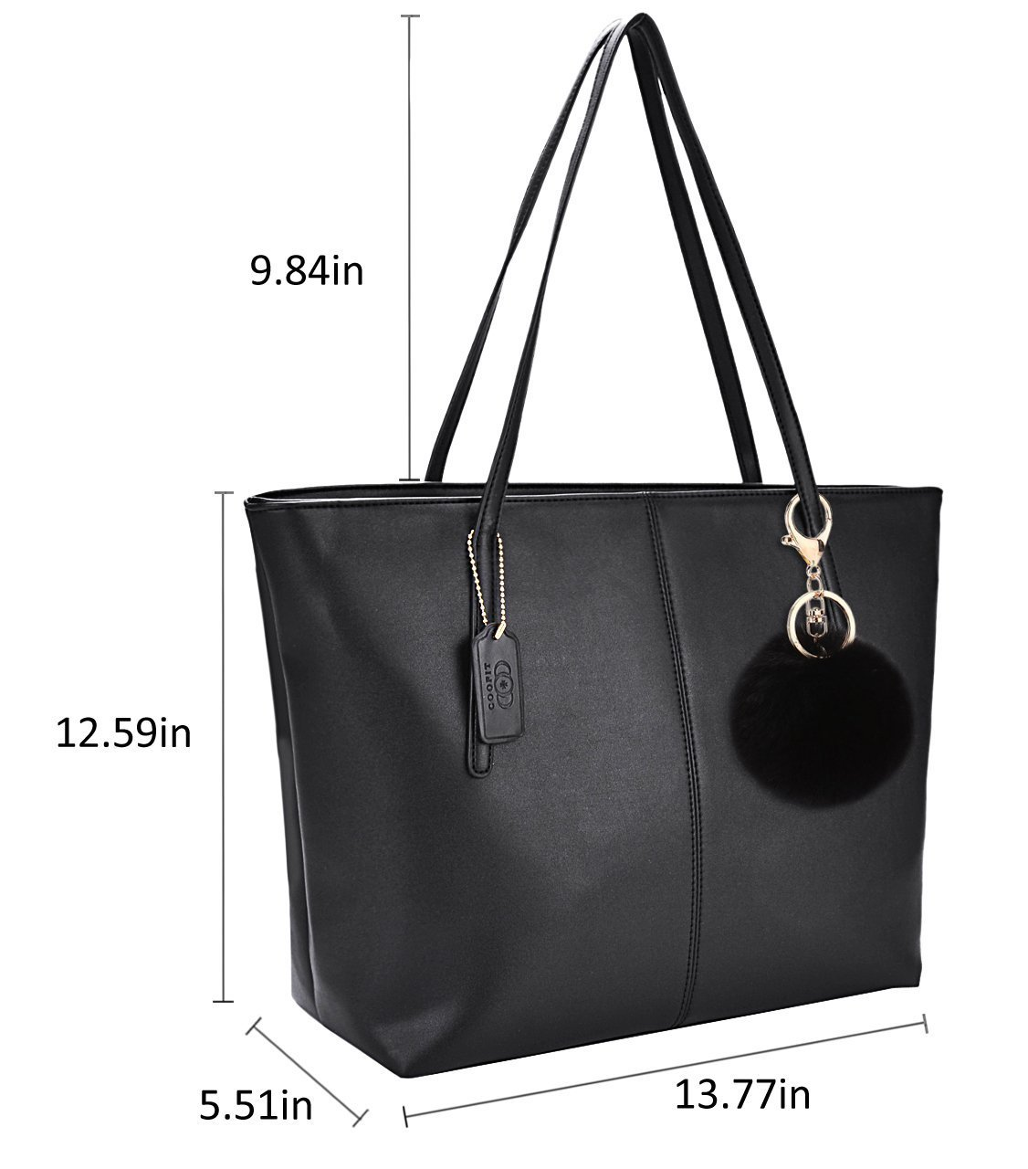 Buy Coofit Women Handbags, Fashion Designed Womens Handbags Shoulder Bag  Messenger Leather Tote Ladies Handbag Purse - Large, Black Pendant - Black  Online ... e13dced17a