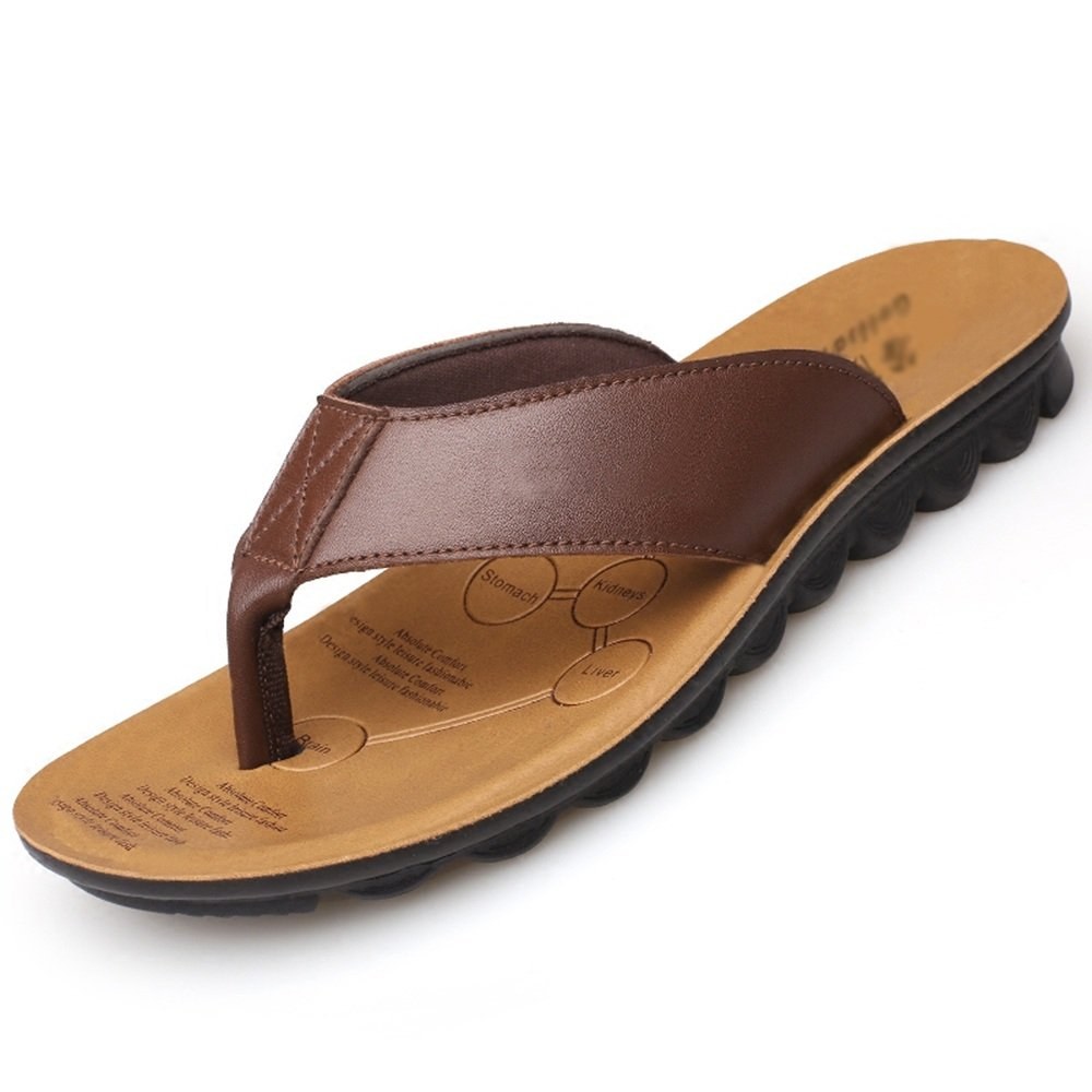 2ad9ddb4526 Sandals HUO Men Outdoor Beach Shoes High Quality Fashion Casual Breathable  Non-slip Slippers Black Brown Cattle Yellow Comfortable absorb sweat (Color  ...