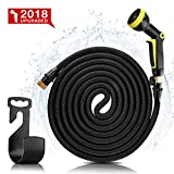 #9: Garden Hose 50ft- Upgraded Expanding Water Hose Expandable Garden hose with 9 Spray Pattern Nozzle, Triple Latex Core, 3/4 Solid Brass Fittings- Flexible Hose with Portable Bags & Hanger-No-Kink