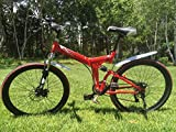 "Image of 26"" Folding Bicycle Shimano 21 speed Mountain Bicycle Disc Brakes RED"