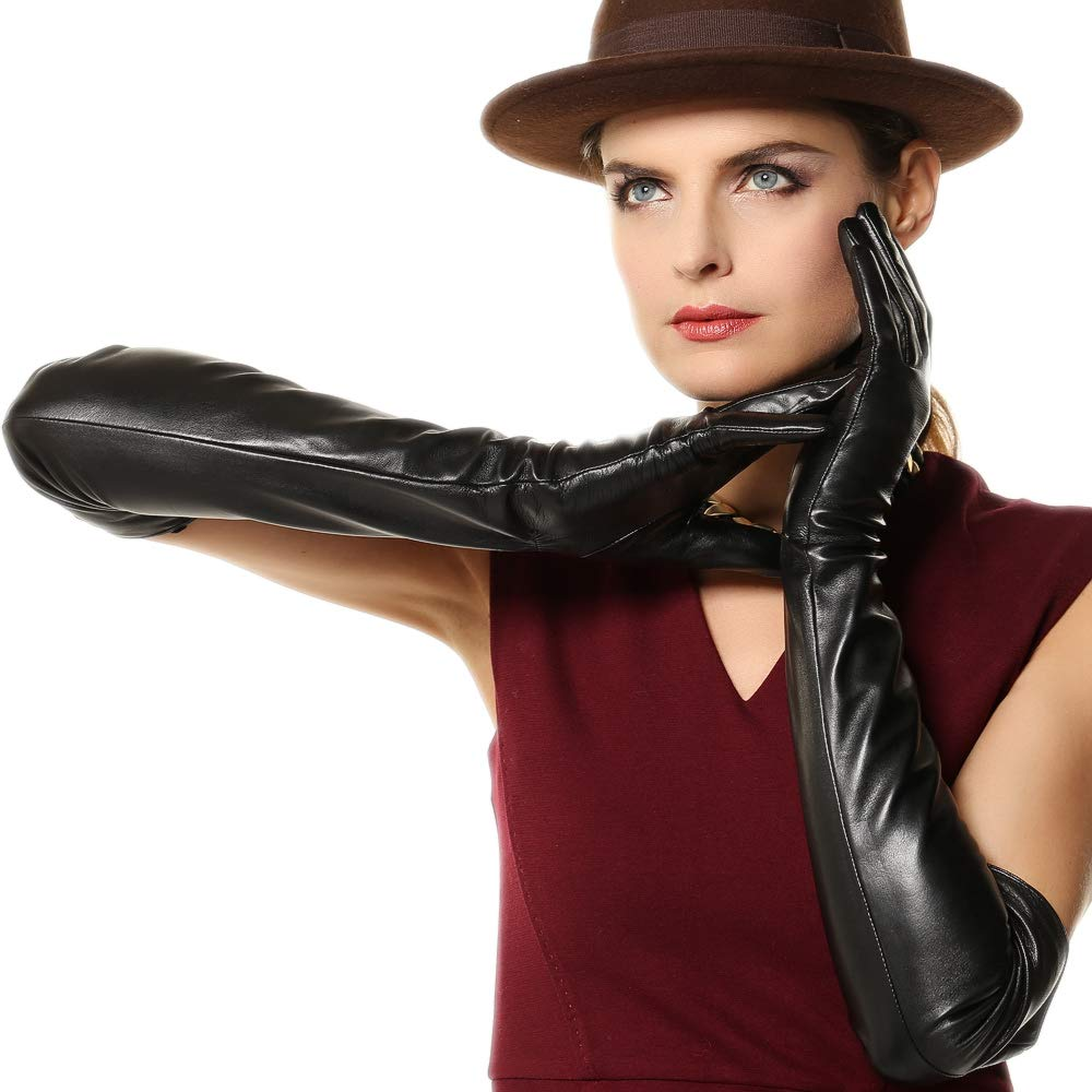 WARMEN Super Long 22'' Women Genuine Soft Nappa Leather Opera Gloves (XL, Black)