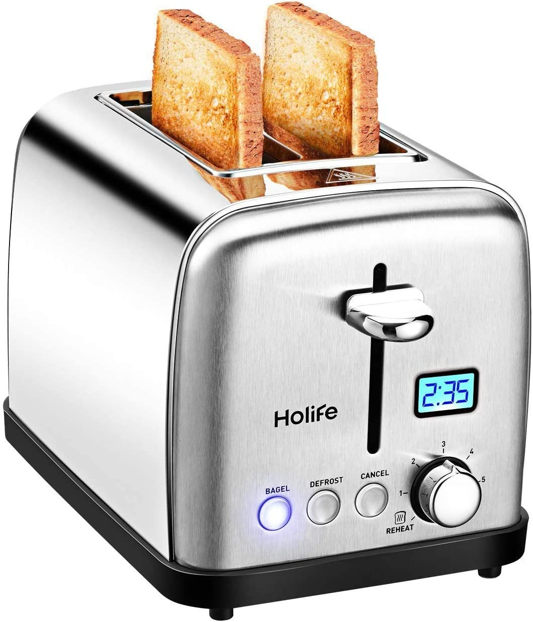 """Holife Toaster 2 Slice, Stainless Steel Toaster, Bagel Toaster with Digital Display, 6 Shade Settings, Bagel/Defrost/Cancel/Reheat Function, 1.5""""Extra Wide Slot, 900W"""