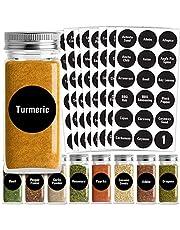 Talented Kitchen Round Spice Labels - 126 Preprinted Chalkboard Spice Labels Sticker. Chalk, Water Resistant, Write-On, Reusable, Spice Jar Label f/Spice Organization Storage (Set of 126- Chalkboard)