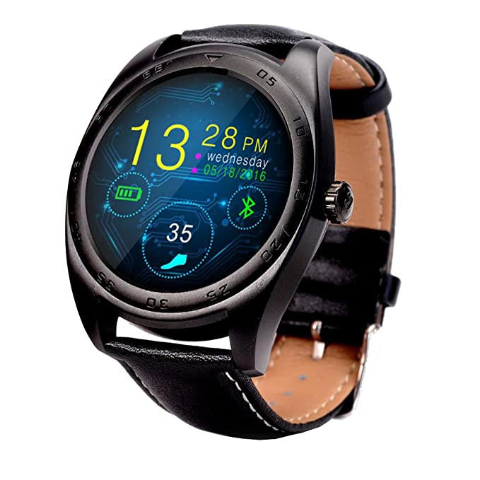 Malloom K89 Bluetooth inalámbrico podómetro ritmo cardíaco reloj inteligente para iOS Android (Negro)