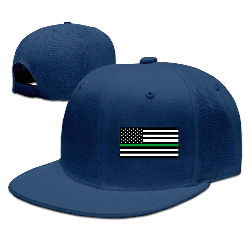 Thin Green Line American Flag Mens Adjustable Baseball Cap Dad Hats
