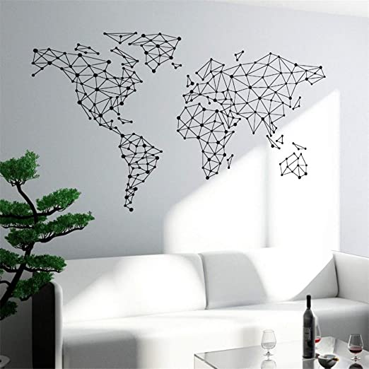 Etiqueta de la pared del arte Mapa del Mundo Especial Diseño ...