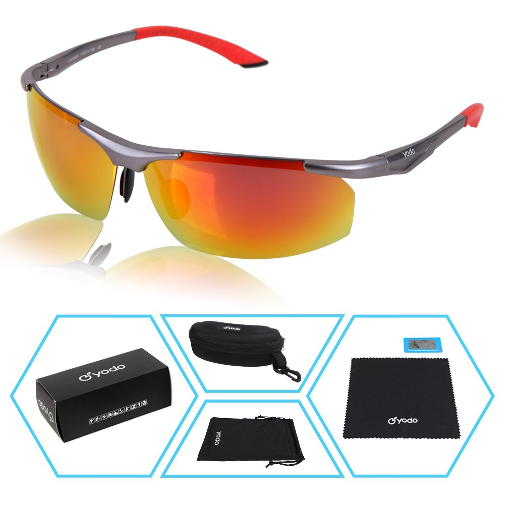Yodo UV400 Polarized Sunglasses Driver Glasses for Women Men Sports Fishing Business with Unbreakable Frame,Red