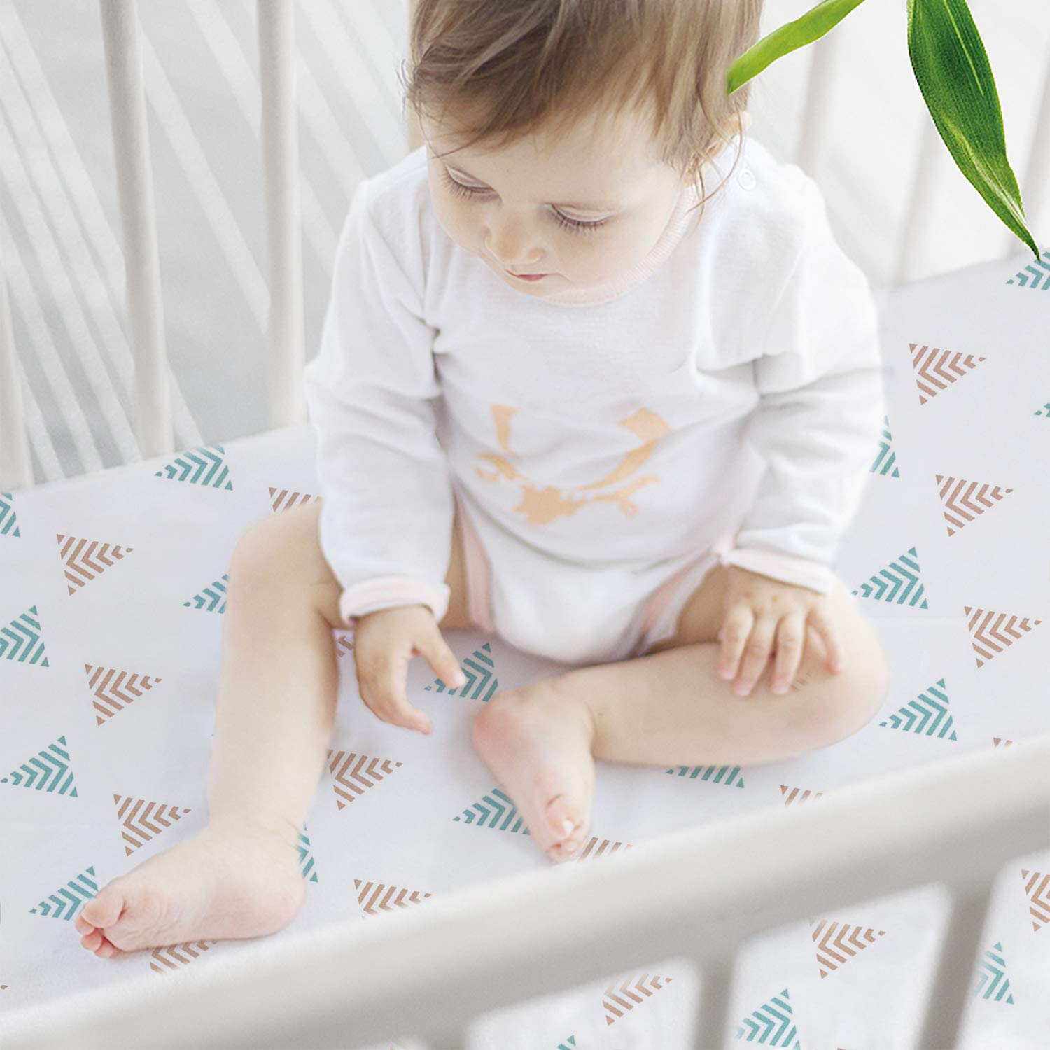 Breathable Cozy Baby Sheets Silky Soft Toddler Sheets Printed 2 Pack Mystery Reindeer 28 x 52in TILLYOU Microfiber Deer Crib Sheets Set for Boys /& Girls