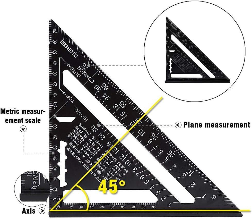 Square Triangle Aluminum Alloy Triangle Ruler Protractor Black for Engineer Carpenter