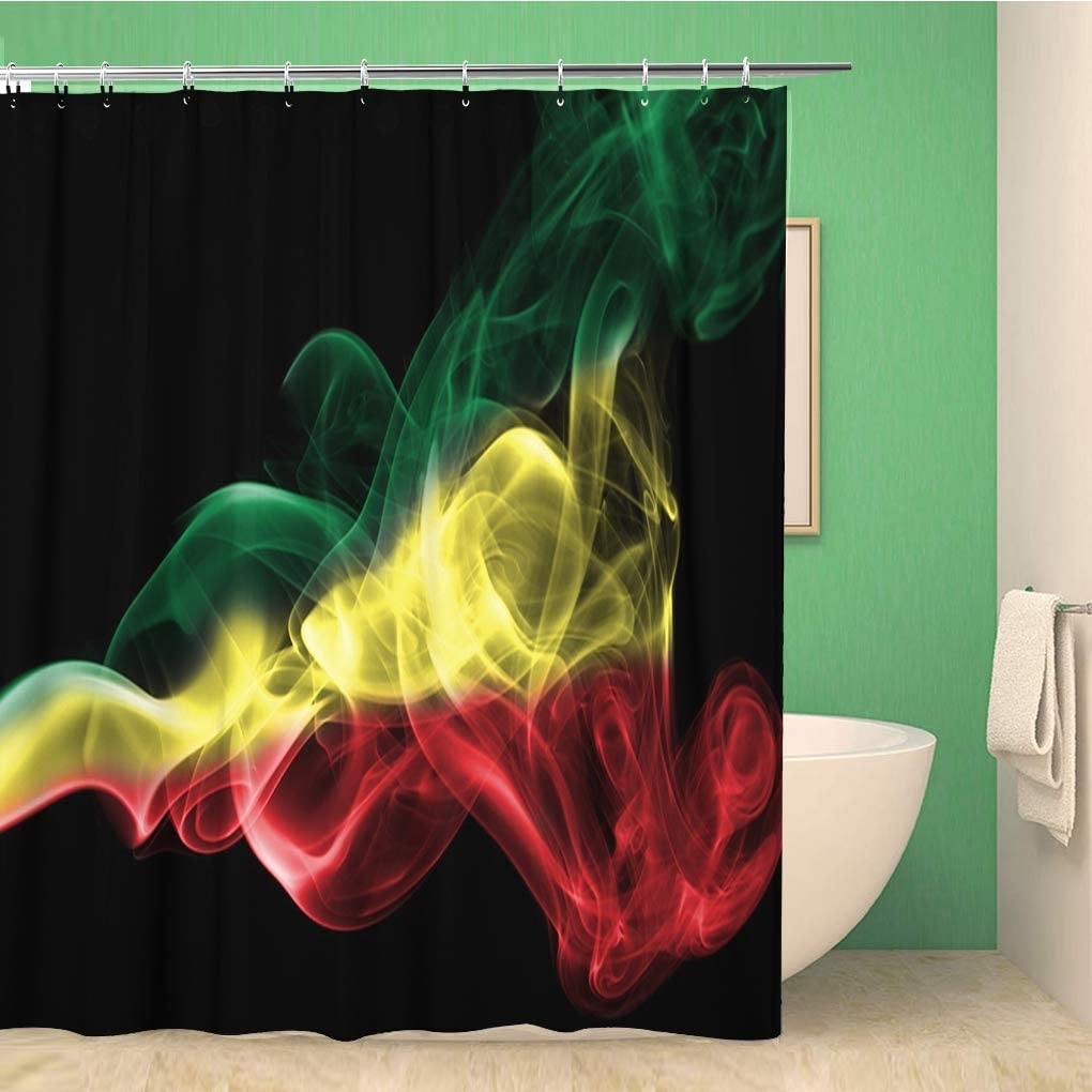 Awowee Bathroom Shower Curtain Rasta Ethiopia Smoke Abstract Burn Cannabis Celebration Country Creative Polyester Fabric 60x72 inches Waterproof Bath Curtain Set with Hooks