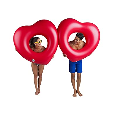 BigMouth Inc Giant Double Heart Multi-Person Pool Float, Perfect for 2 People, Funny Inflatable Vinyl Summer Pool or Beach Toy, Patch Kit Included: Toys & Games