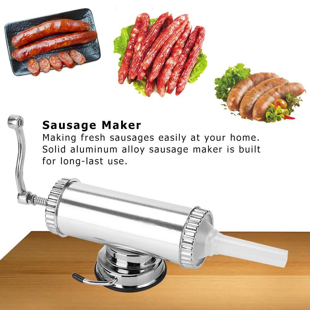 VIFERR Sausage Stuffer,2 LB Aluminum Alloy Sausage Stuffer Maker Meat Filler Kit for Home Use with Easy Manual Crank