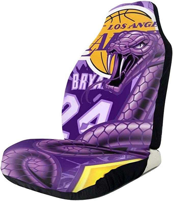 2PCS Los Angeles Basketball Car Seat Cover Player Number 24 Seats Covers Mamba Automotive Front Seat Cover Auto Motorsports Backseat Storage Pocket Interior Car Accessories Fit Car Truck Van SUV