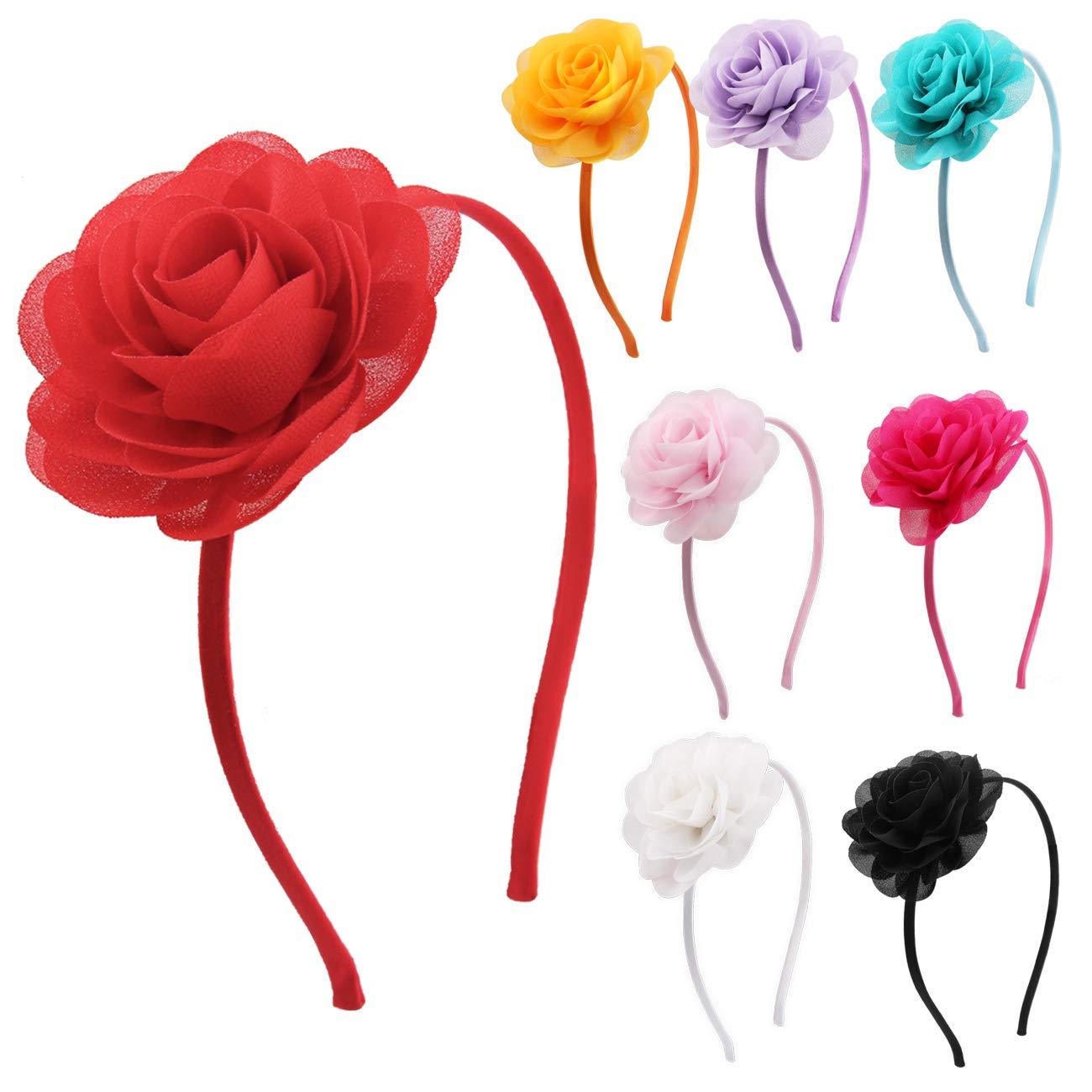 feste di matrimonio Cerchietti per capelli in chiffon con rose e fiori Candygirl accessori per capelli