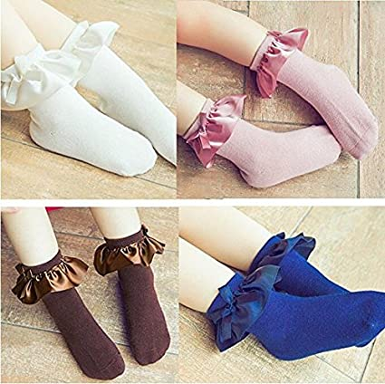 October Elf 5 Pairs Baby Girls Cotton Socks Lace Ruffle Frilly Princess Style Socks