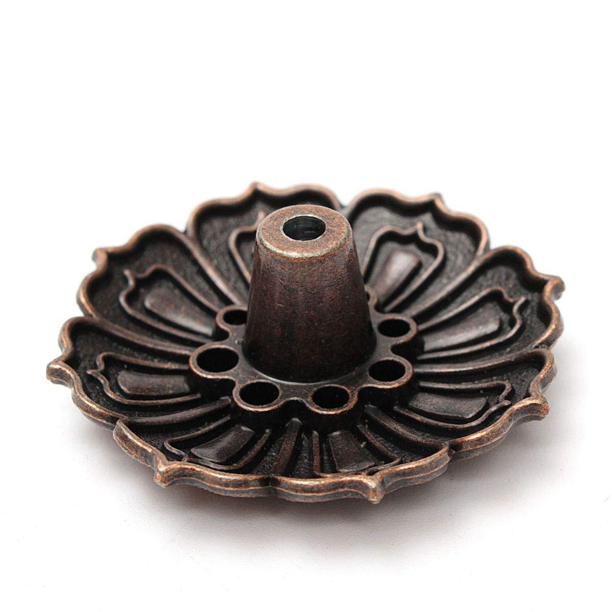 Sgerste 9 trous en alliage Fleur de Lotus Brû leur d'encens bâ ton de plaque de support pour cô ne d'encens