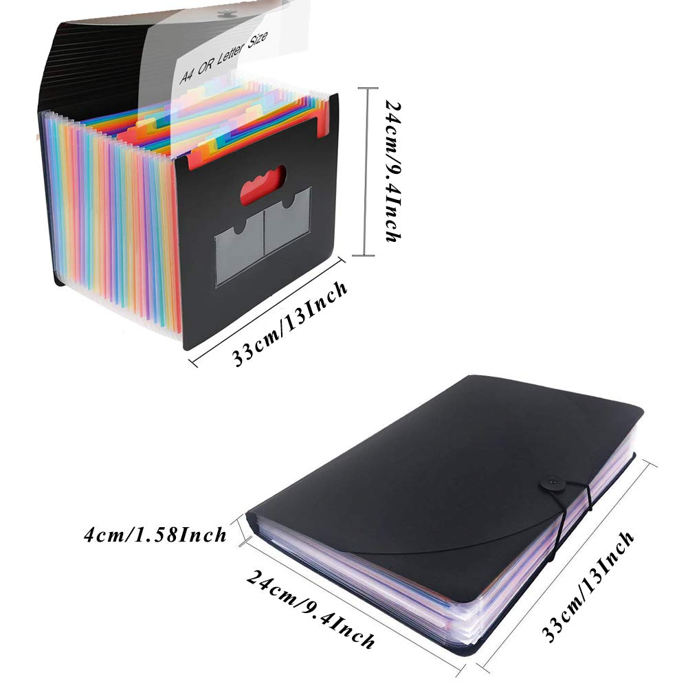 QUTAWAY Expanding File Folder 24 Pockets Accordion File Organizer with Cover New Version A4 Plastic Portable File Filing Document Holder Wallet with Lid Rainbow, Updated Cover