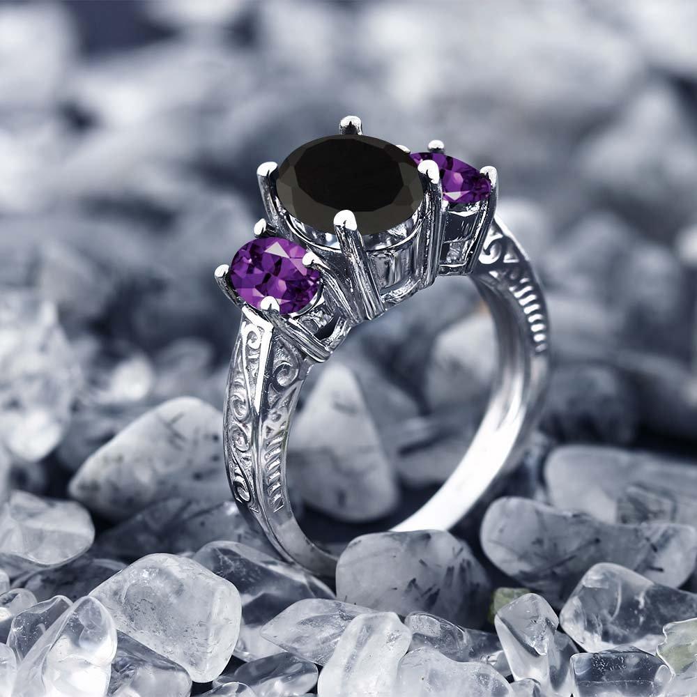 2.53 Ct Oval Black Onyx & Purple Amethyst 925 Sterling Silver 3-Stone Gemstone Women's Ring (Size 5) by Gem Stone King (Image #4)