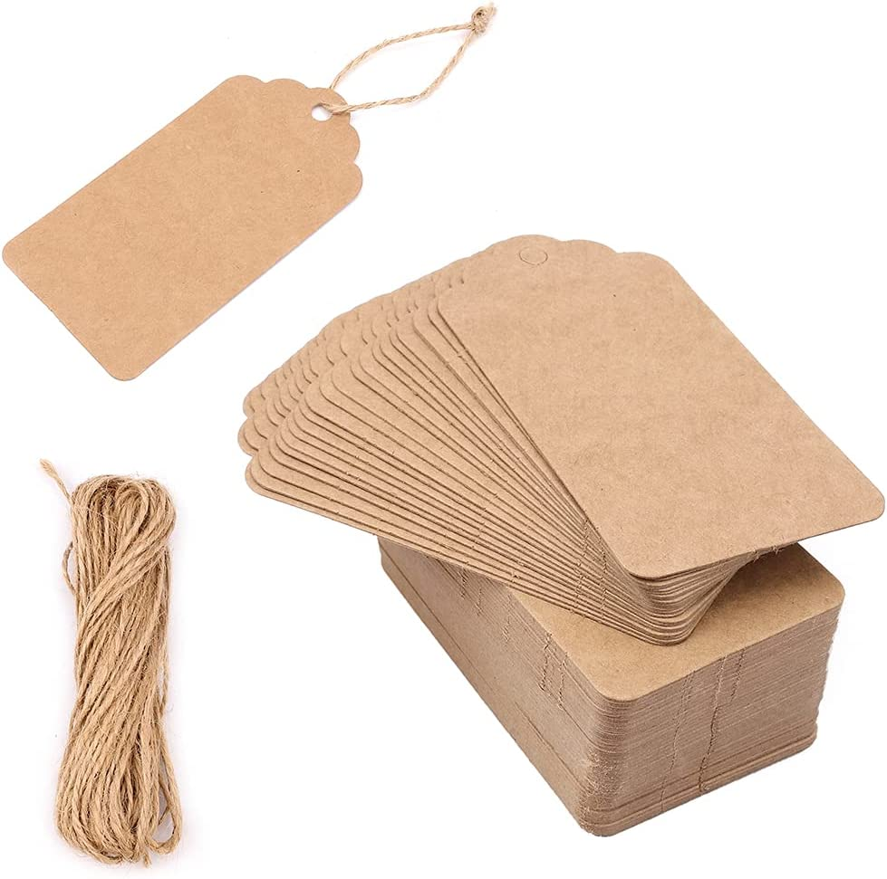 100pcs Gift Wrap Tags with Hemp Rope, Kraft Paper Gift Tags, Double-Sided Available Kraft Paper Price Tags 10m Root Natural Jute Twine, Craft Tags Labels Treats Tags for Wedding Christmas Thanksgiving