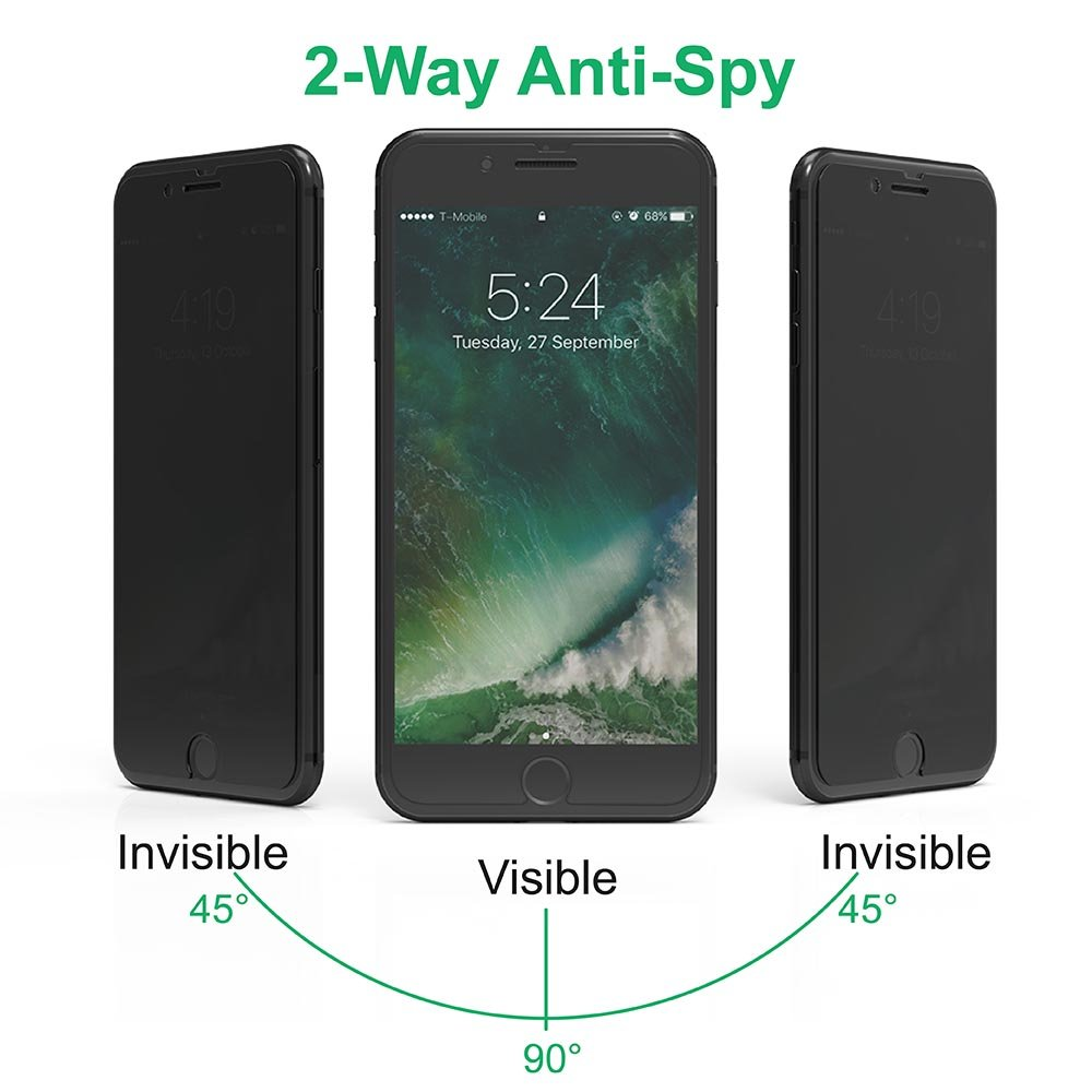 iPhone 7 Plus 5.5 Privacy Anti-Spy Tempered Glass Screen Protector Easy to Install (2 Pack)