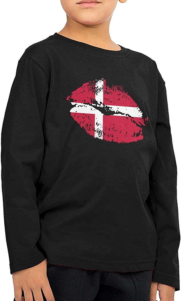 CERTONGCXTS Toddler Denmark Flag Lips ComfortSoft Long Sleeve T-Shirt