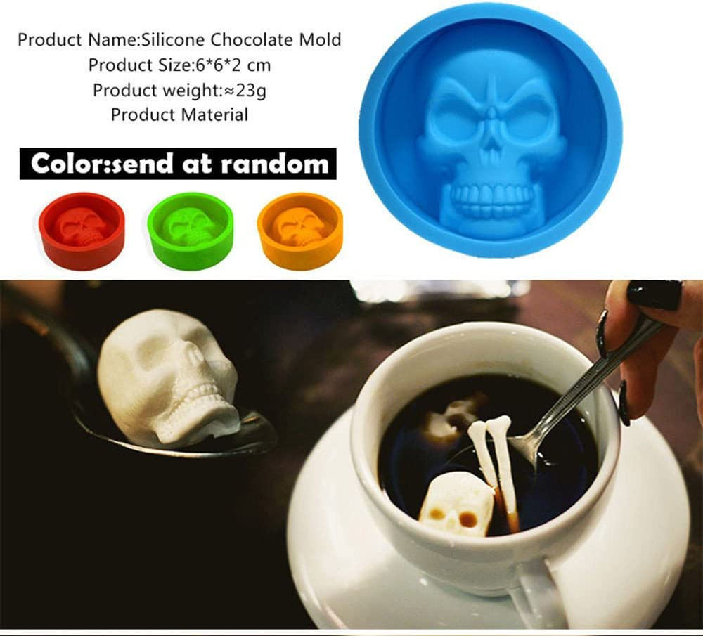 VENMO Halloween 3D Skull Silicone Mold Chocolate Fondant Cake Making Baking Mould Pumpkin Bat Skull Baking Decoration
