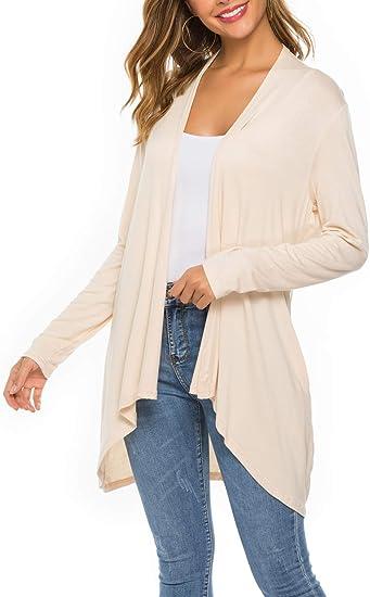 Women Casual Hi-Lo Long Tunic Top Wrap Front Cardigan Solid Long Sleeve Draped