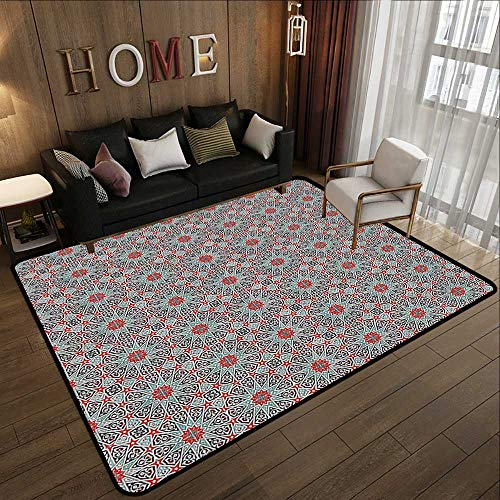 (Polyester Area Rug Mat,Moroccan Decor Collection,Ceramic Tile with East Pattern Heritage Oriental Tradition Culture Travel Ornate Image,Red Ivo 35