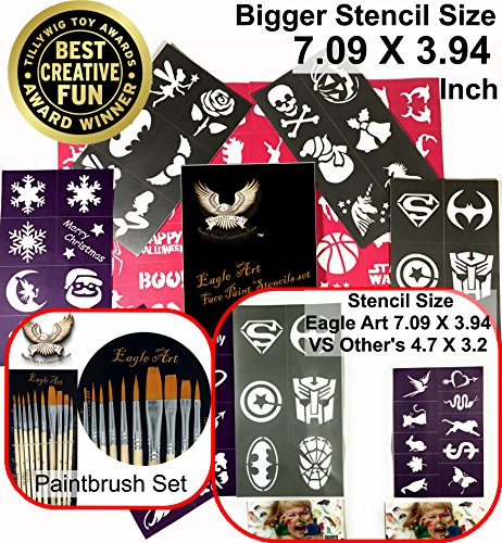 Face Paint Stencils & Paintbrush Set by Eagle Art | X-Large 2x2.4, Large 2x1.8, Medium 2x1.4 (Inches) Size Stencil Design | Eagle Art Artist Pointed-Round Paintbrush Set | 10 Pieces Round Pointed Tip