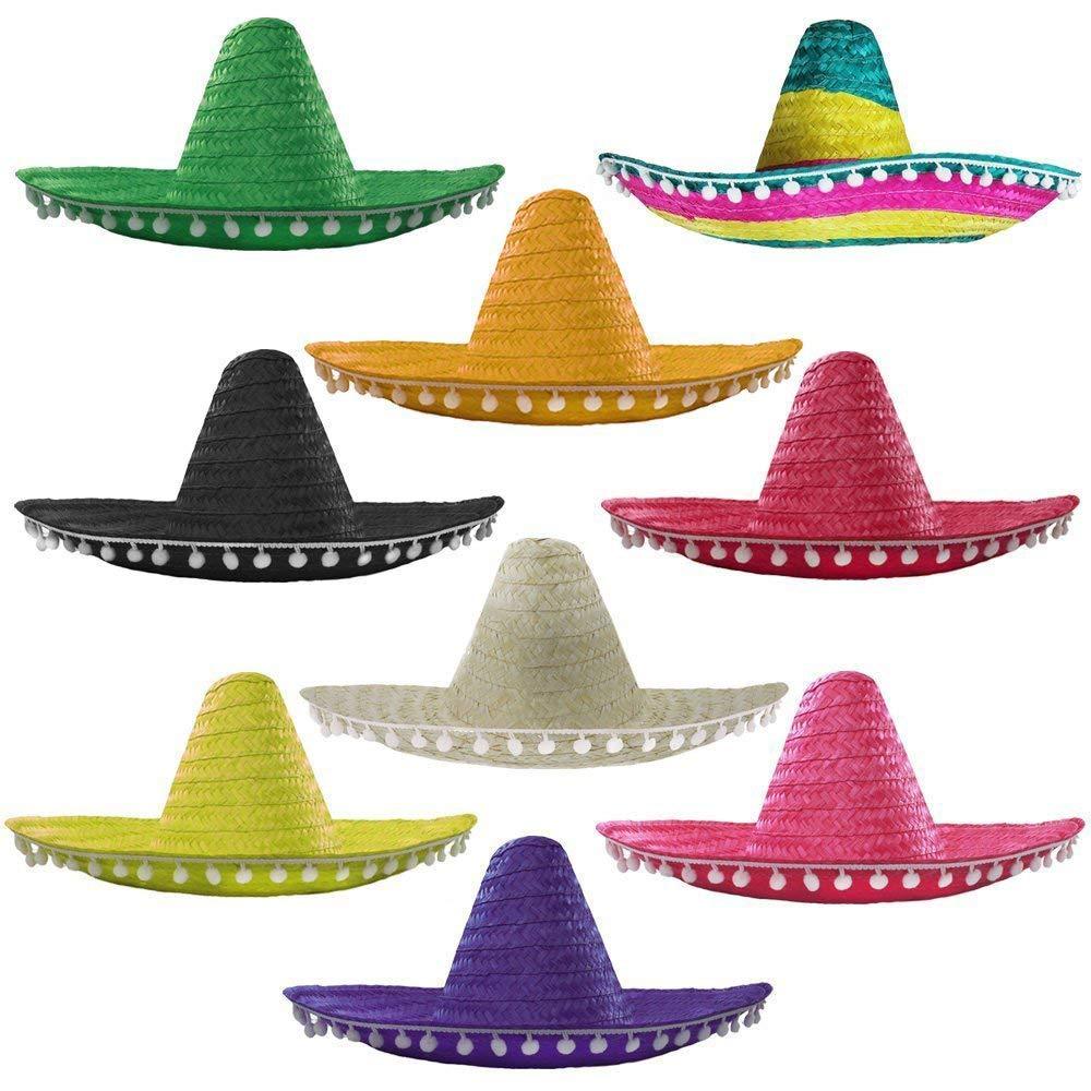 PURPLE MEXICAN SOMBRERO STRAW HAT POMPOMS ADD ACCESSORY MOUSTACHE CIGAR STAG HEN