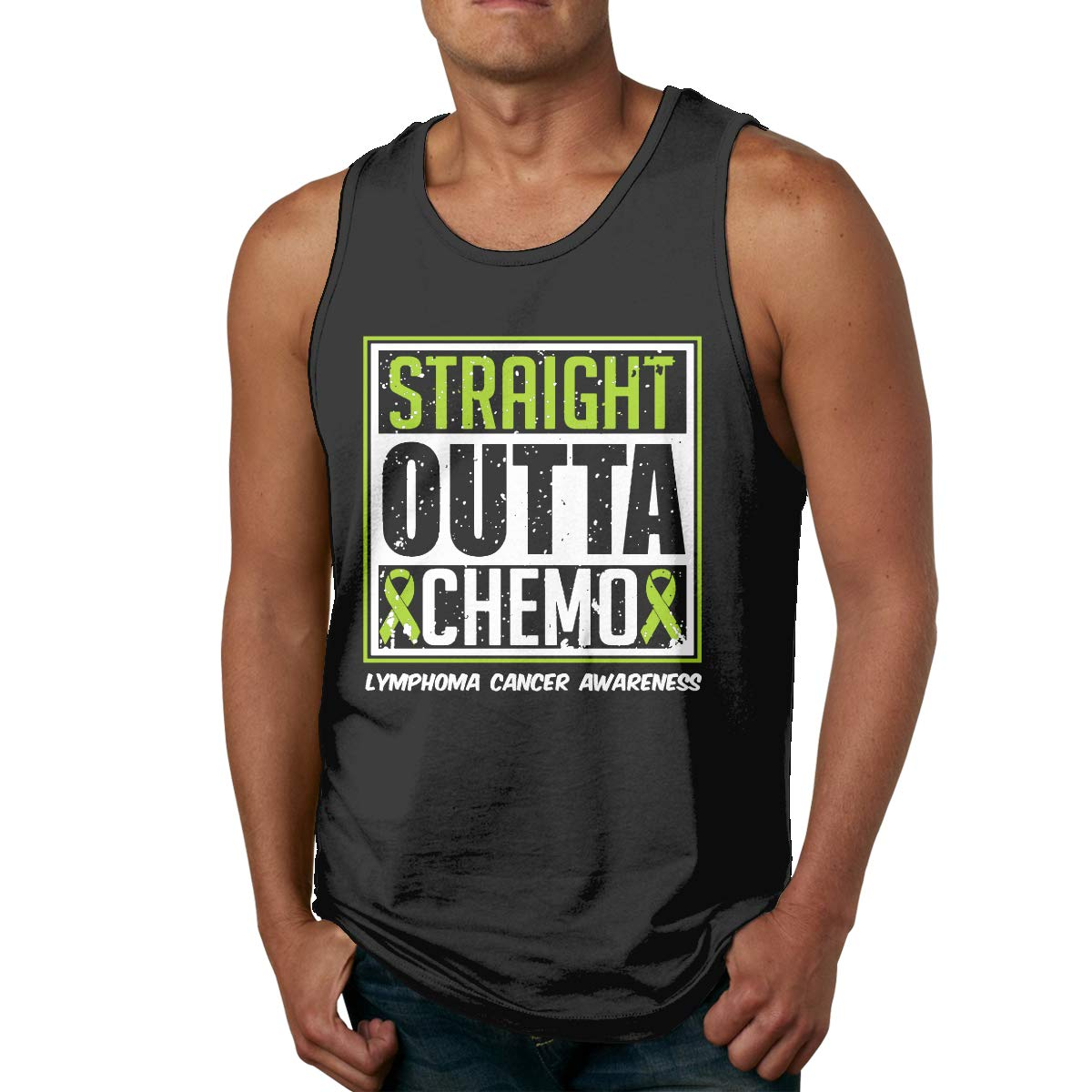 Mens Tank Top Comfy Straight Outta Chemo Lymphoma Cancer Awareness Cotton Cami