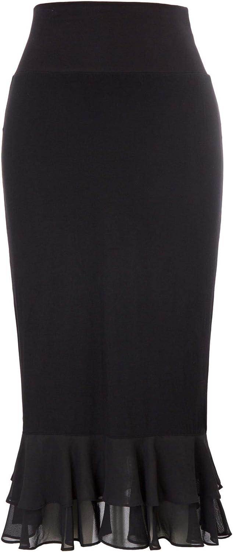 그레이스 카린 여성용 무릎 길이 속치마 프릴 쉬폰 드레스 스커트 하프 슬립 익스텐더 S-XXL