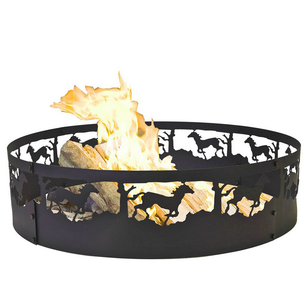 Campfire Ring Steel Portable Wood Burning Fire Outdoor Backyard Camping Garden Vacation Silhouettes Running Horses Rustic Decor Sturdy Metal Easy Transport Store Stove Firebowl & eBook by BADA shop by BS
