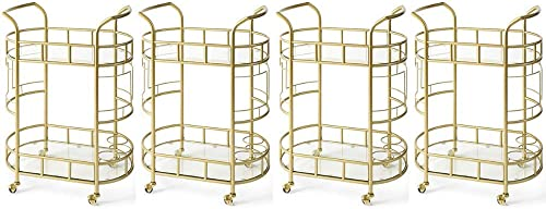 Better Homes Gardens Elegant Metallic Gold 2-Tier Serving Cart with Safety-Tempered Glass, Gold, Pack of 4