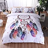 Meeting Story Tribal Duvet Cover Set Skull Horns Feathers Boho Chic Bedding Set (Queen, Flying Feather)