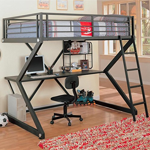 Parkview Full Workstation Loft Bed Black (Coaster Twin Over Twin Convertible Loft Bunk Bed)