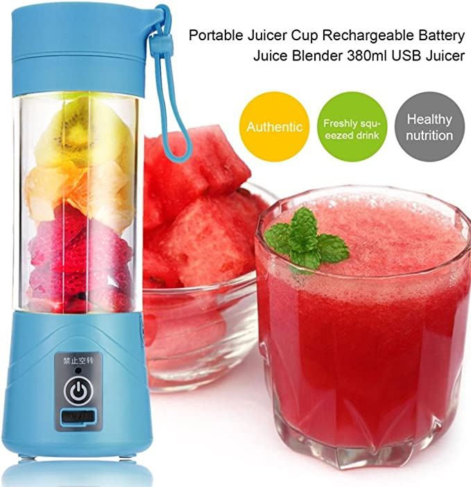 Compra SODIAL 380ml Vaso botella de licuadora recargable USB Batidora de citricos de jugo Exprimidores de batido de leche fruta verduras limon Botella de exprimideras: Azul en Amazon.es