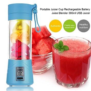 Compra TOOGOO 380ml Vaso botella de licuadora recargable USB Batidora de citricos de jugo Exprimidores de batido de leche fruta verduras limon Botella de ...