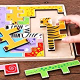 NEEDRA Wooden Jigsaw Giraffe Animals Block Toys Tetris Game Kids Educational Toys