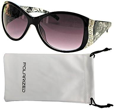 fa68d3815b8 Vox Women s Polarized Sunglasses Designer Fashion Rhinestone Vintage Floral  Eyewear - Black Frame - Smoke Lens  Amazon.in  Clothing   Accessories