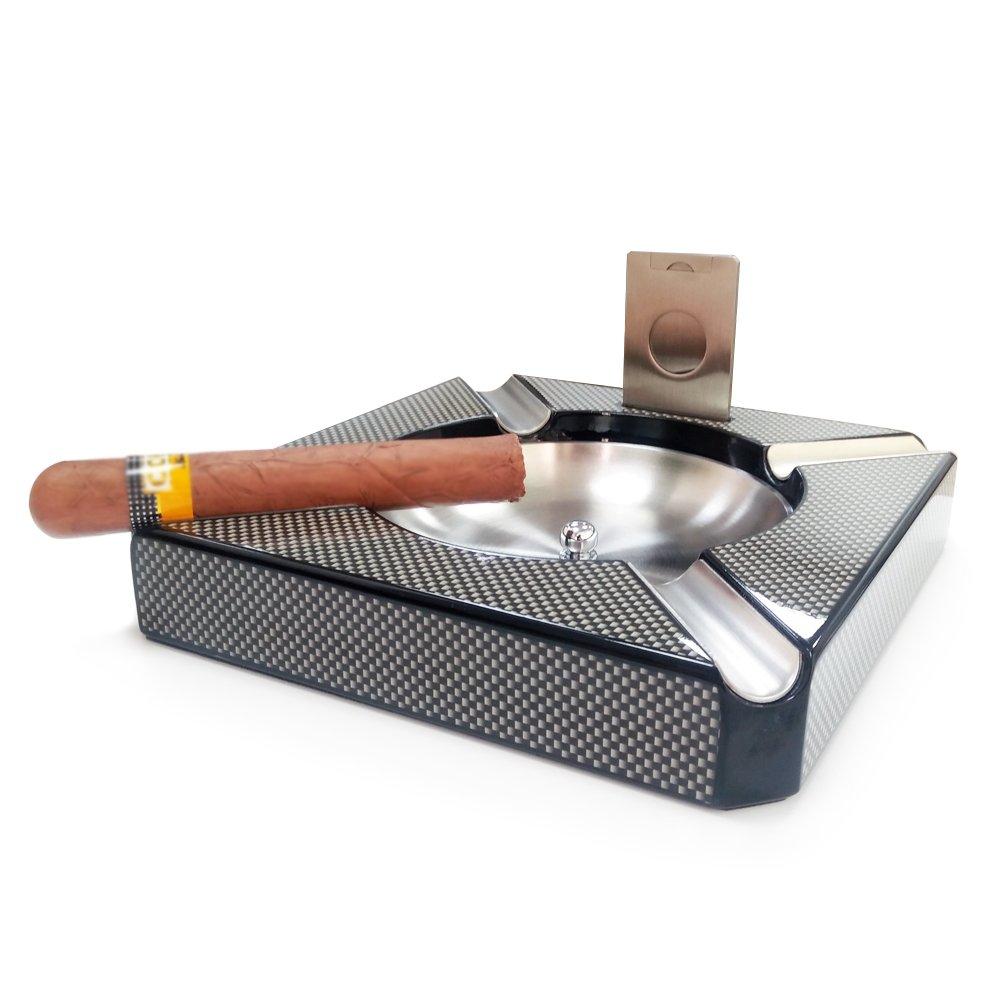 OYHBO Cigar Ashtray Carbon Fiber High Glossy Finish with Cigar Cutter