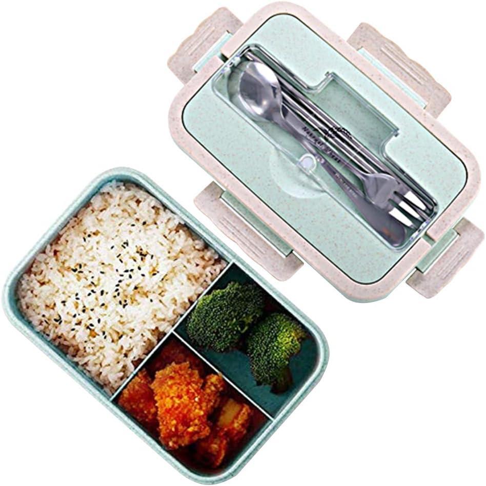 Fiambreras bento, Fiambrera de seguridad de trigo natural de 1000 ml con tenedor palillos cuchara para niños y adultos, apta para microondas y lavavajillas azul