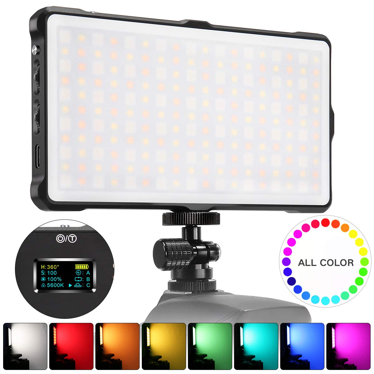 Pixel RGB LED Video Light On-Camera Video Light for DLSR Camera Camcorder with Built-in 4040 mAh Rechargeable Battery 0-360 Full Color Mini Pocket Size 3200-5600k Bi-Color CRI/TLCI 97+ by PIXEL