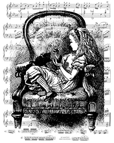 8x10 Fine Art Print, Alice in Wonderland Decorations, Alice and Her Cat Dinah, Overlaid on Sheet Music Artwork, a Fine Art Giclee Print. Size: 8x10 (Cat On Alice And Wonderland)