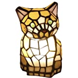 Bieye L10211 8 Inch Cute Cat Waits for Someone to Play with Tiffany Style Stained Glass Accent Table Lamp Night Light…
