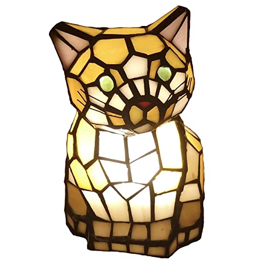 Amazon.com: bieye estilo Tiffany vidrieras Adorable gato ...