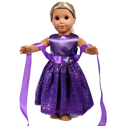 642c1e6356ae Amazon.com  18 Inch Doll Clothes - Beautiful purple Dress with Dots ...