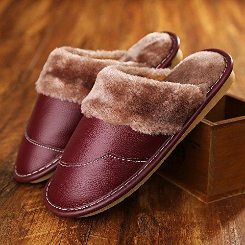 Haisum Hiver Pantoufles En Cuir Véritable Pour Les Femmes, Doublure En Fausse Fourrure Fermée Toe House Chaussures Intérieur Vin Extérieur Rouge (8832)